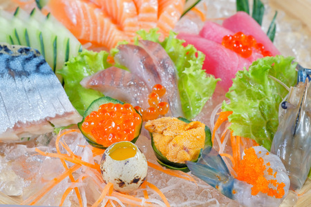 Mixed sashimi - japanese food style on white background