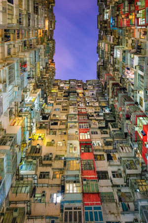 Old community night view colorful apartment building at Quarry Bay, Hong Kong Stock Photo