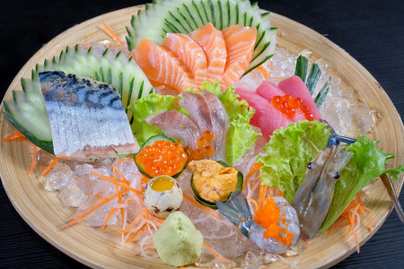 Mixed sashimi - japanese food style on black background Stock Photo