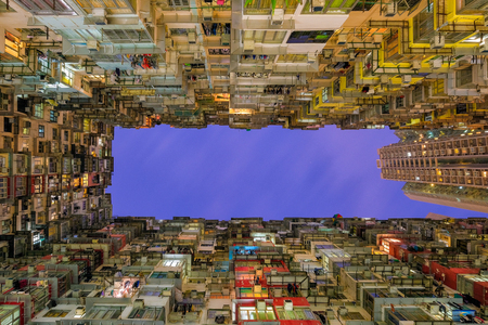 overcrowded: Old community night view colorful apartment building at Quarry Bay, Hong Kong Stock Photo