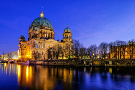 Berlin Cathedral (Berliner Dom) at famous Museumsinsel (Museum Island) with Spree river in beautiful twilight time in summer, Berlin, Germany Editorial