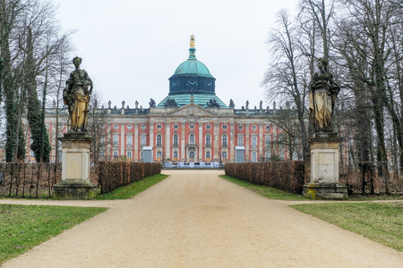 Front of Neues Palais, Potsdam,in fog, Berlin, Germany, Europe. Stock Photo