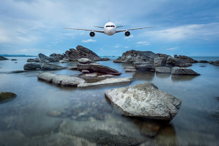 jetliner: Front of real plane aircraft, on seascape background