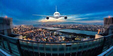 Front of real plane aircraft, on Japan cityscape background