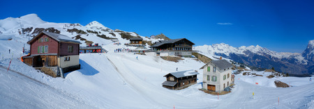 Panoramic view from Kleine Scheidegg station, along the railway from Interlaken to Jungfraujoch (3,466 m). In daylight at Switzerland