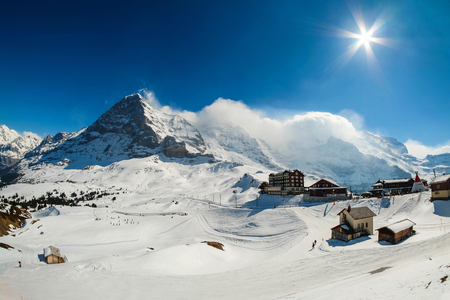 Kleine Scheidegg station, along the railway from Interlaken to Jungfraujoch (3,466 m). In daylight at Switzerland Stock Photo