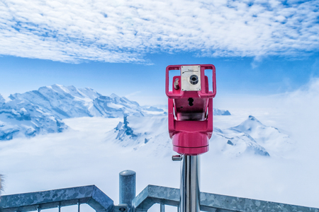 Coin Operated Binocular viewer in Schilthorn Piz Gloria from Murren,Switzerland