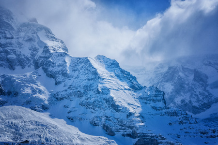 Snow mountain, along the railway from Interlaken to Jungfraujoch at Switzerland
