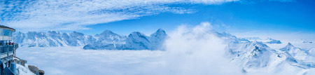 Stunning Panoramic view Snow moutain of the Swiss Skyline from Schilthorn, Switzerland