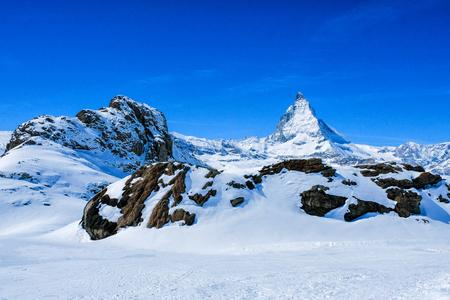 Panoramic beautiful view of snow mountain Matterhorn peak, Zermatt, Switzerland. Stock Photo