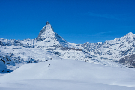 Panoramic beautiful view of snow mountain Matterhorn peak, Zermatt, Switzerland. Stock Photo