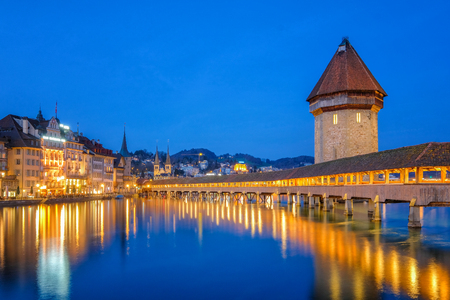 Nigth view of city center of Lucerne with famous Chapel Bridge and lake Lucerne (Vierwaldstatersee), Canton of Lucerne, Switzerland