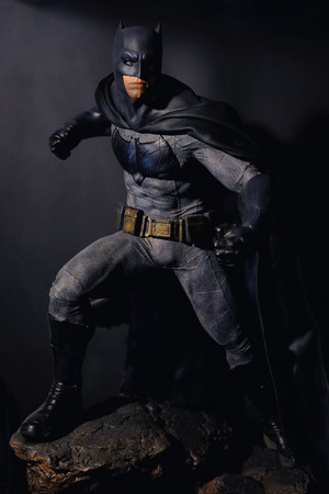 Khonkaen,Thailand - March 4th 2017: Batman figure standing gracefully on black background. Batman is a popular line of construction toys manufactured by the slideshow Group.