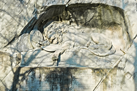 Dying Lion Monument in Lucerne, Switzerland.
