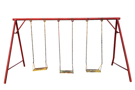 Old empty chain and red swing on white blackground
