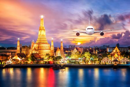 Front of real plane aircraft, on Wat arun at Twilight time at Bangkok, Thailand background Stock Photo