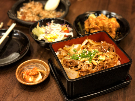 Korean food, Mixed Rice in Restaurant Stock Photo