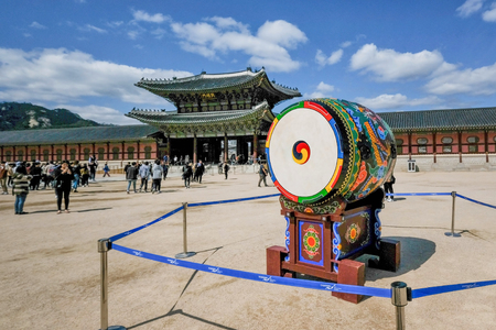 Seoul, South Korea - April 2018 : Traditional Drum in Gyeongbokgung Palace which is one of the most famous landmark in Seoul, South Korea