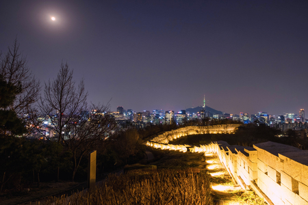Cityscape night view of Seoul and Namsan Seoul Tower, South Korea Reklamní fotografie