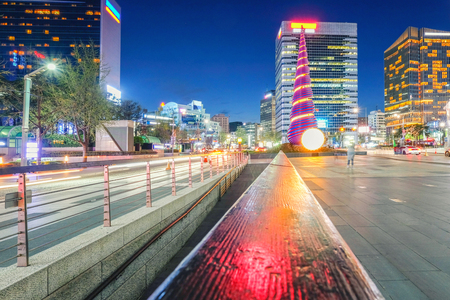 Nigth view of Shell pagoda monument near Cheonggyecheon canal. The famous landmark of Seoul City.