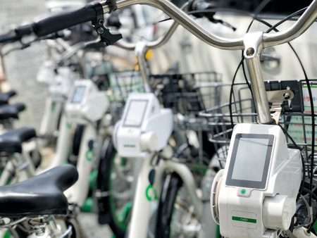 Close-up Of GPS Hire Bike Computer Navigation On Bicycle