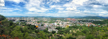 Panoramic view landscape at Khao Rang Viewpoint of Phuket city in daylight, Phuket province, Thailand