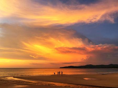 Panoramic view of sunset at Karon beach in Phuket, Thailand Reklamní fotografie - 114522804