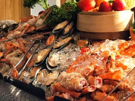 Seafood Buffet bar of lobster, prawns, squid, mussels. Reklamní fotografie - 114522809