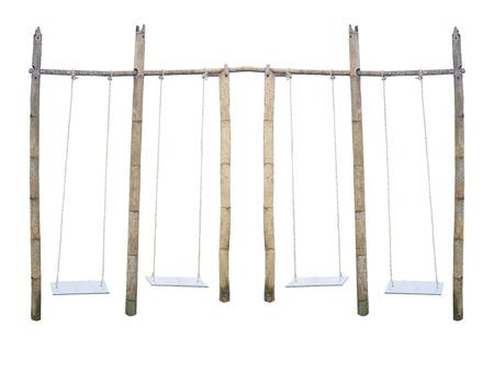 Swing bamboo wood isolate on white background