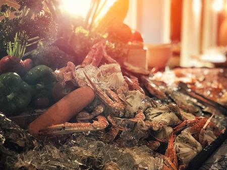 Seafood Buffet bar of lobster, prawns, squid, mussels. Reklamní fotografie - 114522687