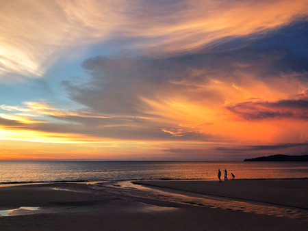 Panoramic view of sunset at Karon beach in Phuket, Thailand Reklamní fotografie - 114522712