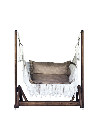 Classic outdoor chair leather swing isolalated on white blackground Reklamní fotografie