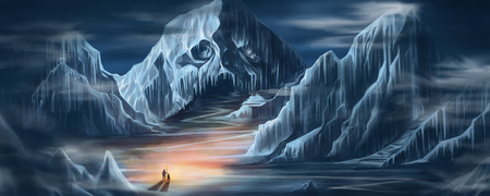 Digital illustration painting design two man holding fire torch standing in front of the Snow Skull  Mountain in the dark world Reklamní fotografie