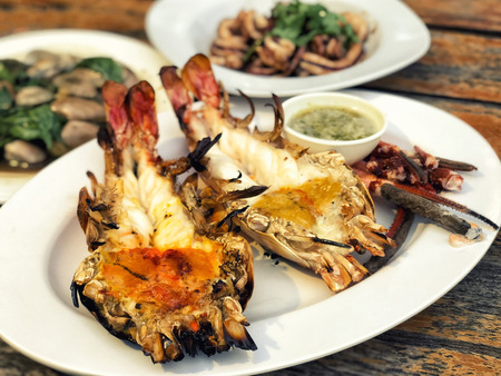 Grilled prawns,Grilled fresh big shrimp with spicy sauce (Thai Food)