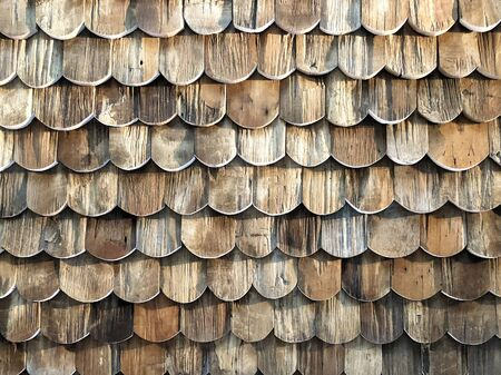 Old wooden roof vintage tiles background detail and close up