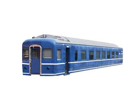 Vintage blue train on white background.