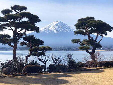 Beautiful view of  Mountain Fuji and Lake Kawaguchiko in Japan