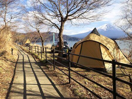 Camping field with mount Fuji view in Kawaguchiko lake at Japan