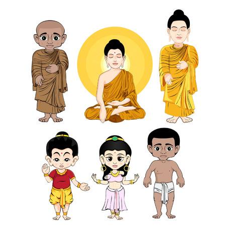 thai monk: buddha cartoon