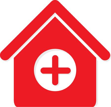 Rojo médico de color médico del hospital del hospital icónico logo concept.vector Foto de archivo - 109030885