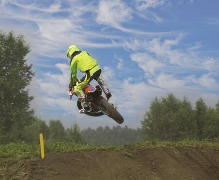 athlete to compete in motocross racing ski-jumps on the motorcycle