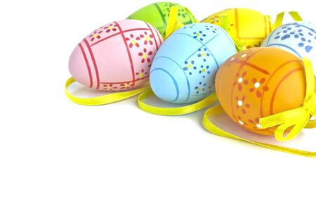 colored easter eggs isolated on white background photo