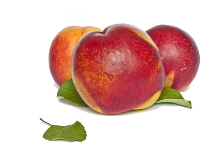 peaches isolated on white background photo