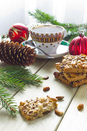 hristmas: сhristmas cookies with nuts and decorations Stock Photo