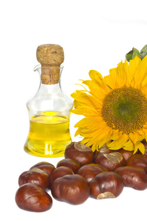 vegetable oil, sunflower and chestnuts isolated on a white  photo