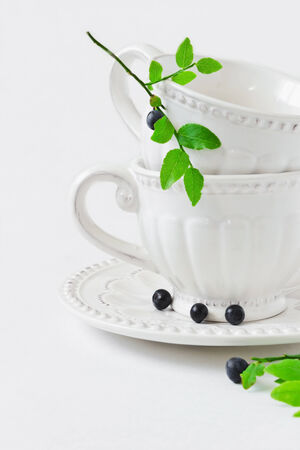 beautiful white cup and a branch with blueberries on white background.old utensils photo
