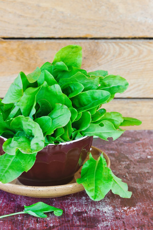 wood sorrel: fresh sorrel leaves on a plate on the old wooden background.. health and diet food