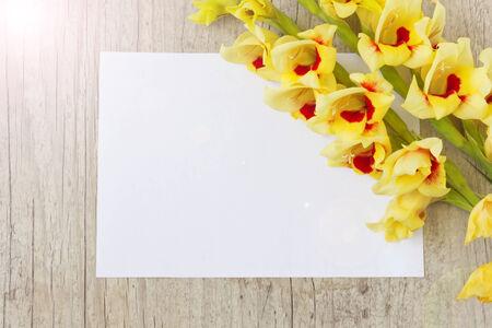 blank sheet: ramo de hermosas gladiolos amarillos y una hoja de papel en blanco para su inscripci�n en el fondo de madera. Foto de archivo