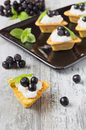 canape with cottage cheese, black berries of mountain ash and fresh mint leaves on a white wooden background. light sweet snack. healthy breakfast. selective focus photo