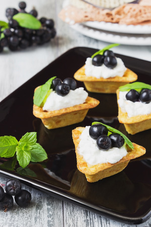 canape with cottage cheese, black berries of mountain ash and fresh mint leaves on a white wooden background. light sweet snack.  selective focus photo